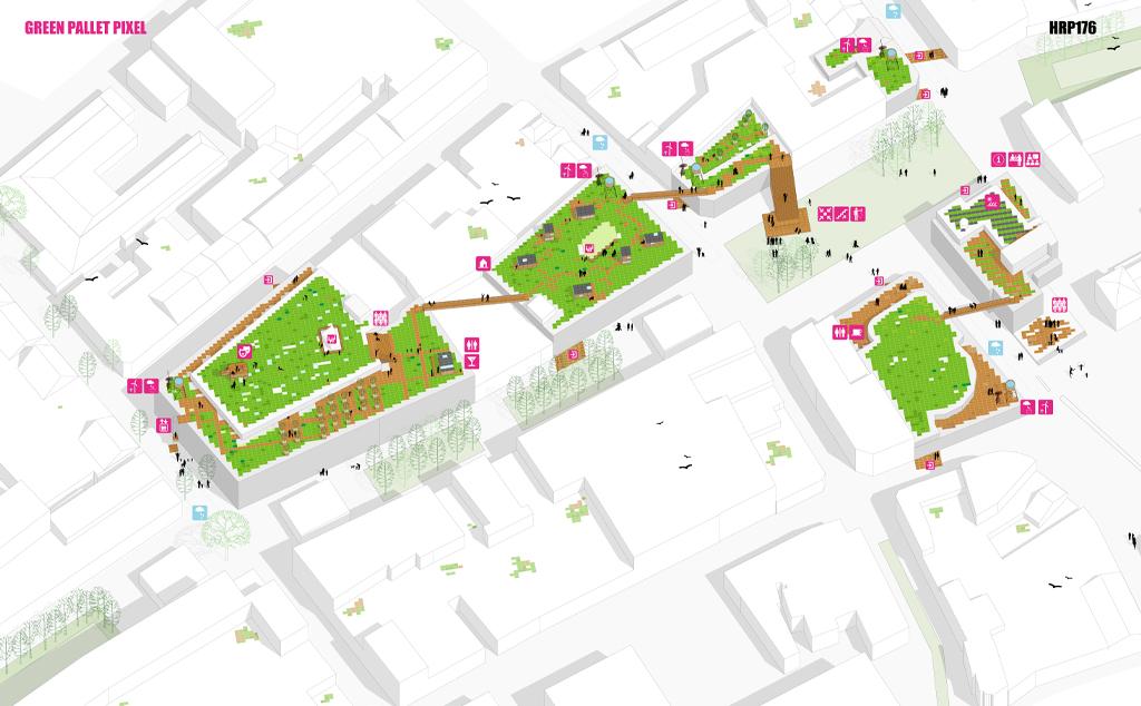 Prijsvraag; Rooftop Heerlen, Green pallet pixel